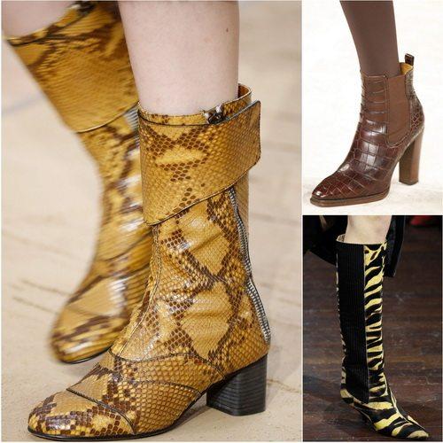 Обувь с животным принтом и текстурами в коллекциях осень-зима 2016-17: Chloe, Ralph Lauren, Kenzo
