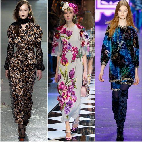 Тема цветов в тренде осень-зимой 2016-17 у кутюрье брендов Rodarte, Dolce&Gabbana, Anna Sui
