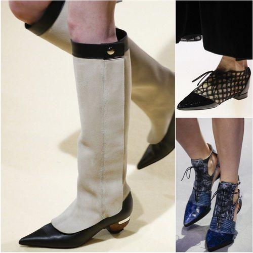 В моде женская обувь с острыми носами. Сезон осень-зима 2016-17: Marni, Giorgio Armani, Christian Dior
