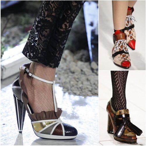 Тренд осени-зимы 2016-2017 - комбинированная женская обувь: Rodarte, Emilio Pucci, Burberry