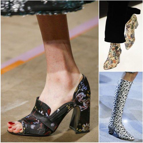 В сезоне осень-зима 2016-17 актуальна обувь с цветочным принтом: Erdem, Giorgio Armani, Altuzarra