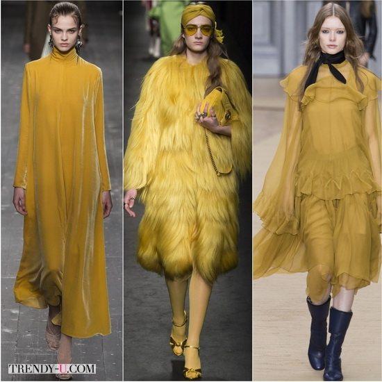 Модный цвет Горчичный в коллекциях осень-зима 2016-17 Valentino, Gucci, Chloe