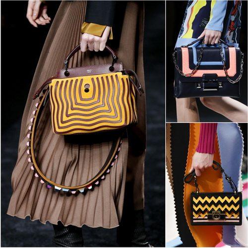 Модные осенью-зимой 2016-2017 сумки с геометрическим принтом: Fendi, Versace, Salvatore Ferragamo