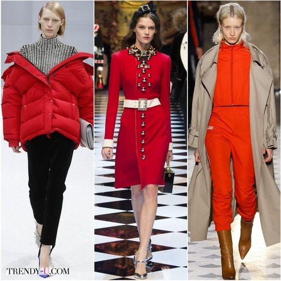 Красный Aurora red в коллекциях осень-зима 2016-2017 Balenciaga, Dolce&Gabbana, Vetements