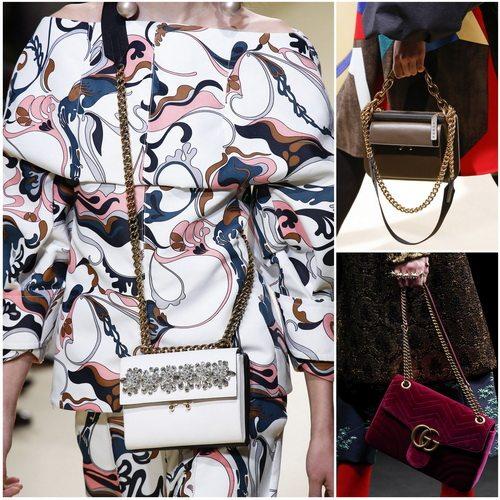 Сумки и клатчи с цепочками в моде осенью-зимой 2016-17: Marni, Gucci