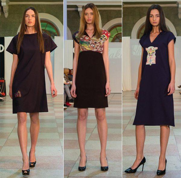 Платья с принтами в виде детских рисунков на платьях от Ushakova на Odessa Fashion Day