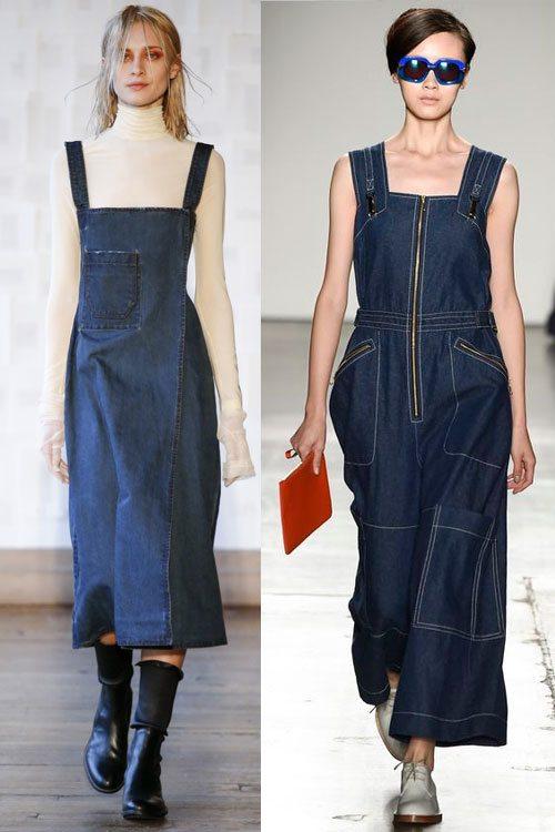 Модные джинсовые сарафаны миди от Each X Other осень-зима 2016-2017 и Karen Walker весна-лето 2016