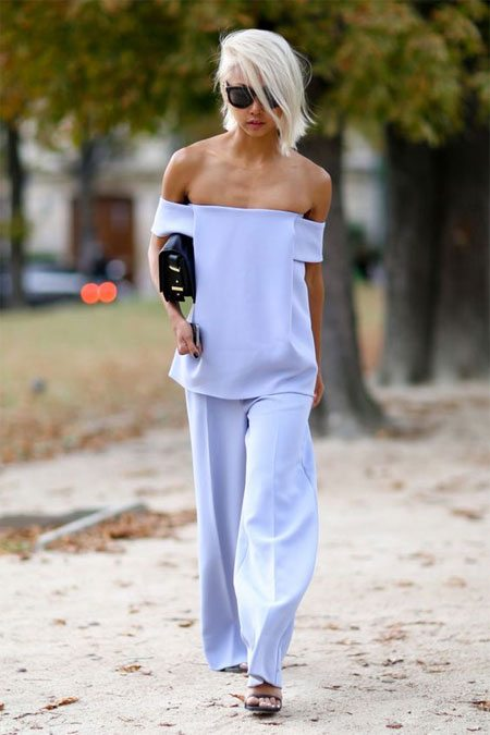 Модный look весна-лето 2018: костюм цвета серенити