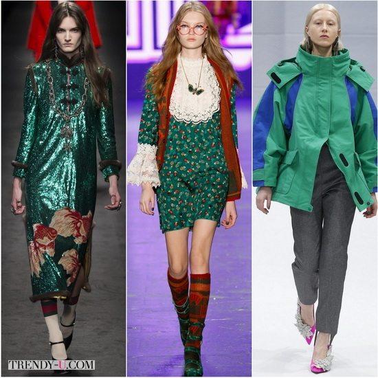 Зеленый Lush Meadow в моде осенью-зимой 2016-17: Gucci, Anna Sui, Balenciaga