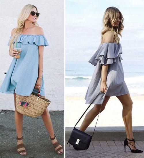 Похожие платья с открытыми плечами в одном стиле - разные образы