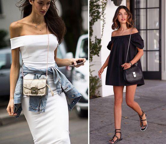 Черное и белое платья с открытыми плечами прекрасно вне зависимости от его длины и фасона