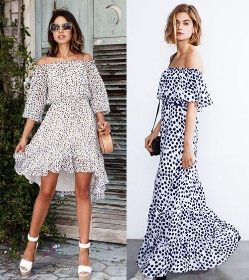 Платье со спущенными плечами 2017