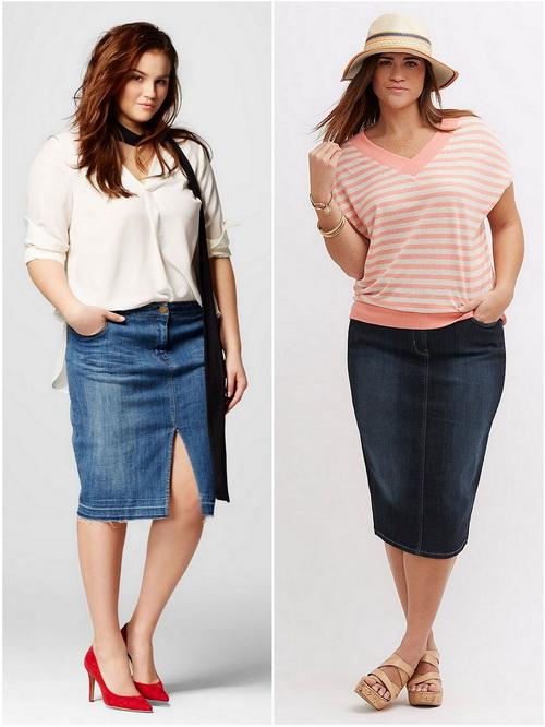 Девушкам аппетитных форм будет хорошо в джинсовой юбке-карандаш