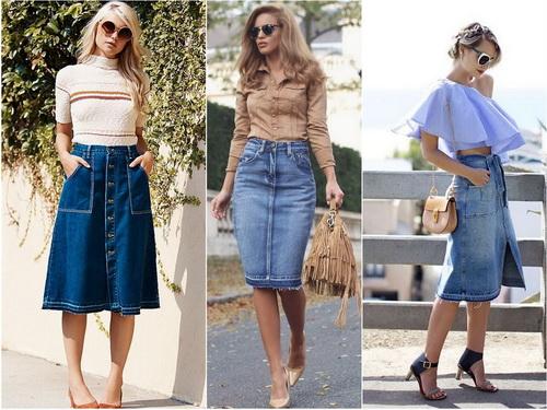 С чем носить джинсовую юбку-карандаш и трапецию длины миди