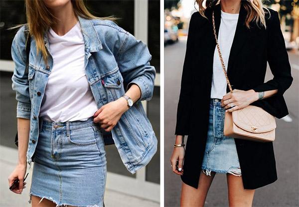 Джинсовая юбка мини в сочетании с курткой / пиджаком