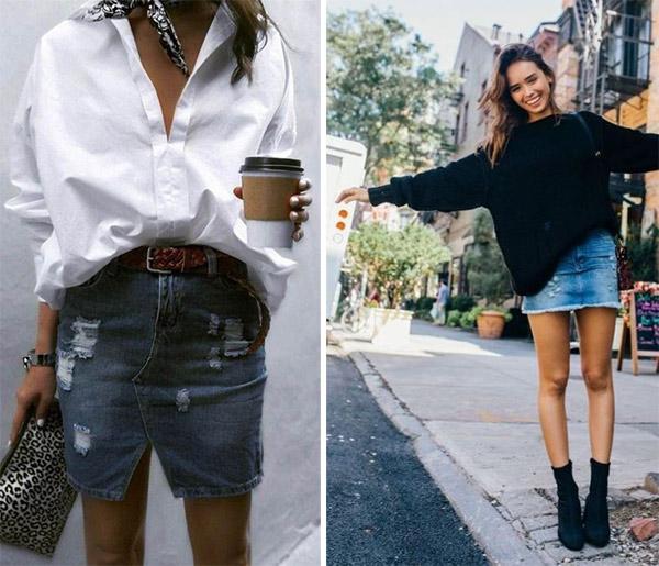 Короткая джинсовая юбка в сочетании с рубашкой / свитером