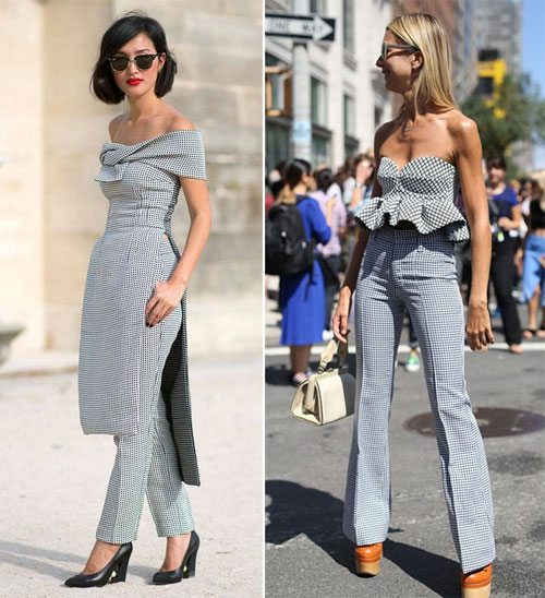 Платье с открытыми плечами в сочетании с брюками и топ. Тоже в сочетании с брюками