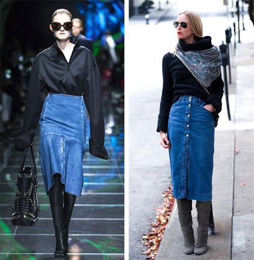 Джинсовая юбка и черный свитер