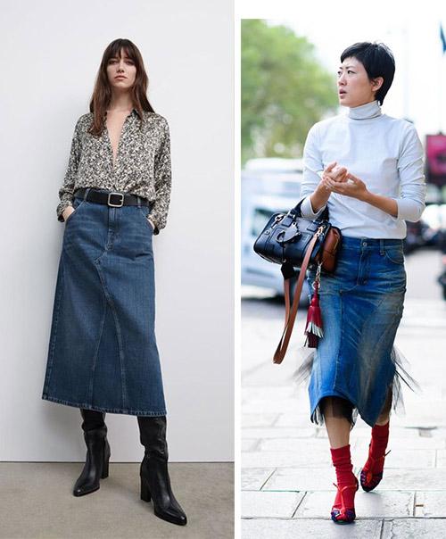 Юбка  А силуэта и юбка-карандаш джинсовая