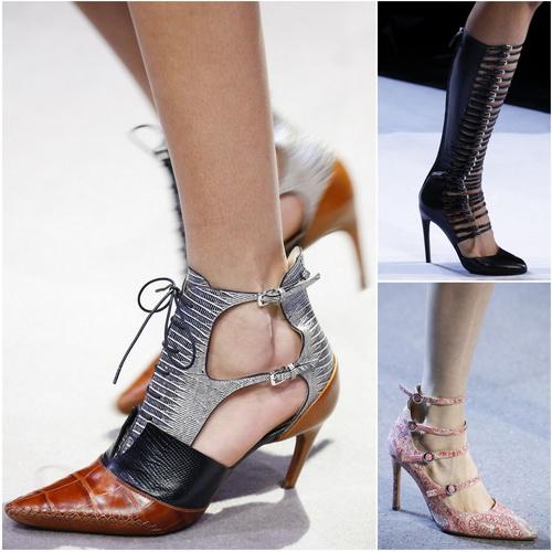 В сезоне осень-зима 2016-17 в моде женская обувь с несколькими ремешками: Christian Dior, Giambattista Valli, Altuzarra