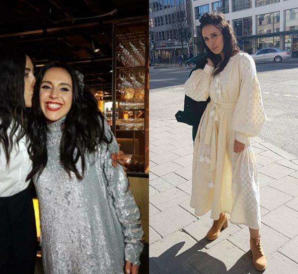 Слева — Джамала за кулисами Евровидения-2016 в платье от Poustovit, справа — в вышиванке от Vita Kin.
