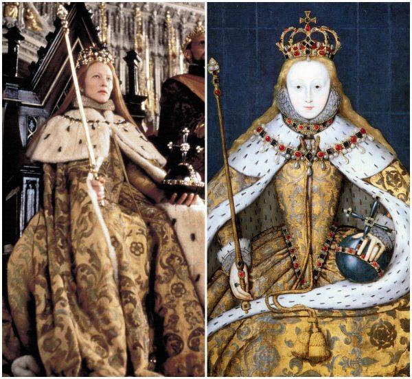 Сцена коронации Елизаветы I: костюм Кейт Бланшетт в фильме был воссоздан по реальному историческому портрету королевы