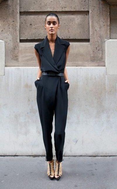 Черный комбинезон на моднице