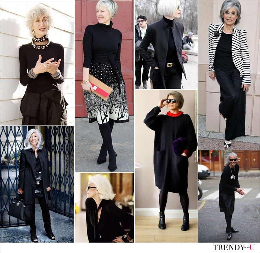 Вот так носить одежду черного цвета женщинам любого возраста!