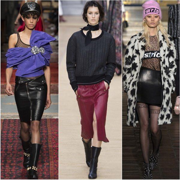 Кожаные юбки в моде осенью-зимой 2016-2017: Moschino, Chloe, Alexander Wang
