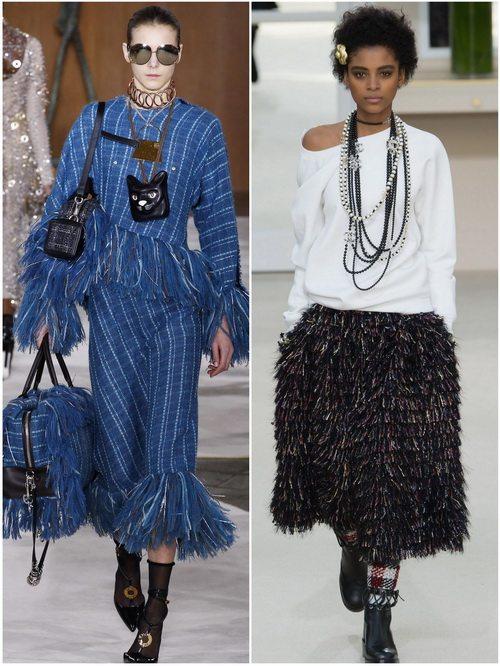 Осенью-зимой 2016-17 в моде юбки с бахромой: Loewe, Chanel