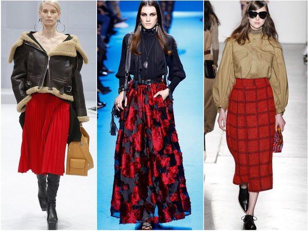 Алый цвет в моде осенью-зимой 2016-17: юбки алого цвета в коллекциях Balenciaga, Elie Saab, Karen Walker