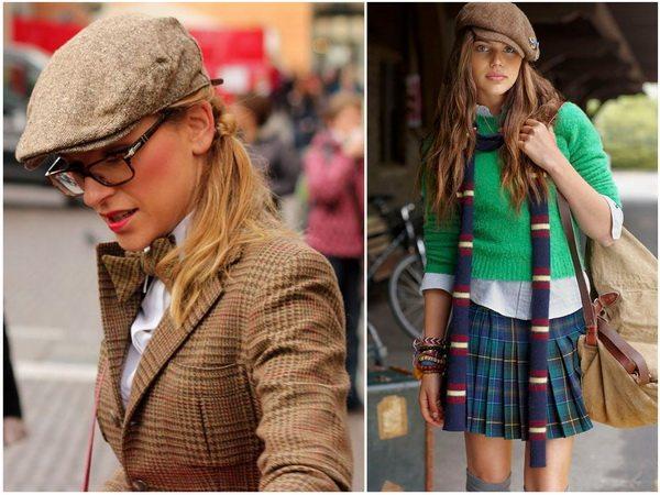 Девушка в стиле преппи и твидовая кепка - идеальный образ