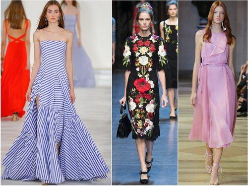 Полоска, цветочный принт и оттенок Розовый кварц в моде весной-летом 2016. Платья Ralph Lauren, Dolce&Gabbana и Carolina Herrera