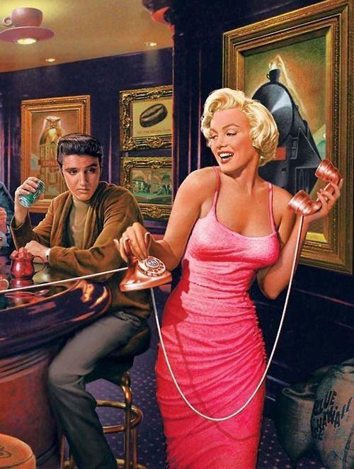 Мэрил Монро и Элвис Пресли на фото в стиле pin-up