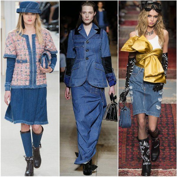 Джинсовые юбки - модная тенденция осенне-зимнего сезона 2016-2017: Chanel, Miu Miu, Moschino