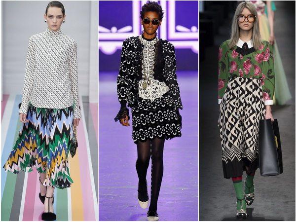 Юбки с геометрическим принтом супер-популярны осенью-зимой 2016-2017: Salvatore Ferragamo, Anna Sui, Gucci