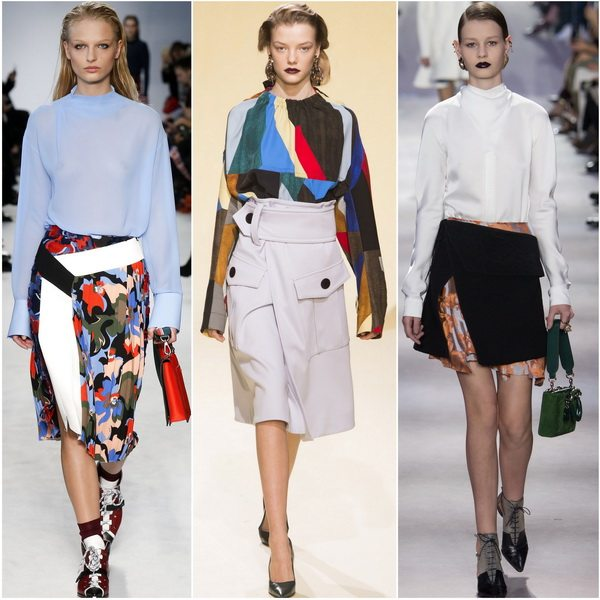 Осенью-зимой 2016 в моде асимметричные юбки: Emilio Pucci, Marni, Christian Dior
