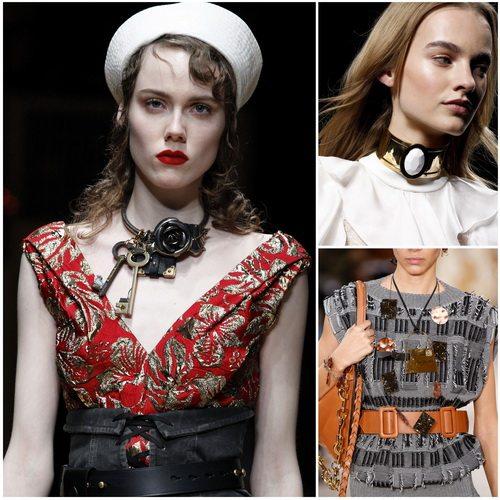 Модные осенью-зимой 2016-2017 чокеры и колье из металла: Prada, Balmain, Loewe