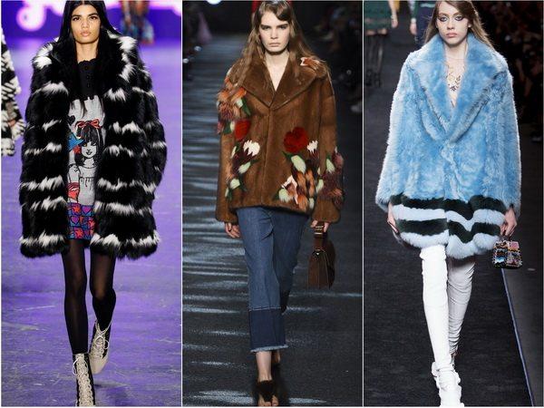 Цветной мех и рисунки на меху в моде осенью-зимой 2016-17: Anna Sui, Blumarine, Fendi
