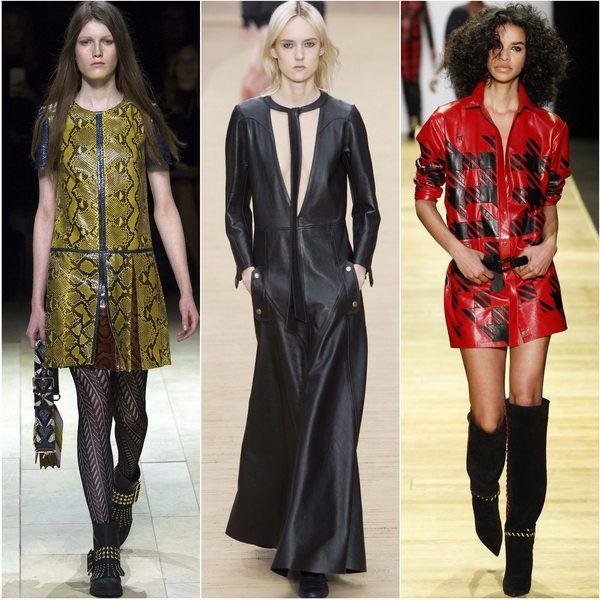Кожаные платья - тренд осени-зимы 2016-17: Burberry, Chloe, Barbara Bui