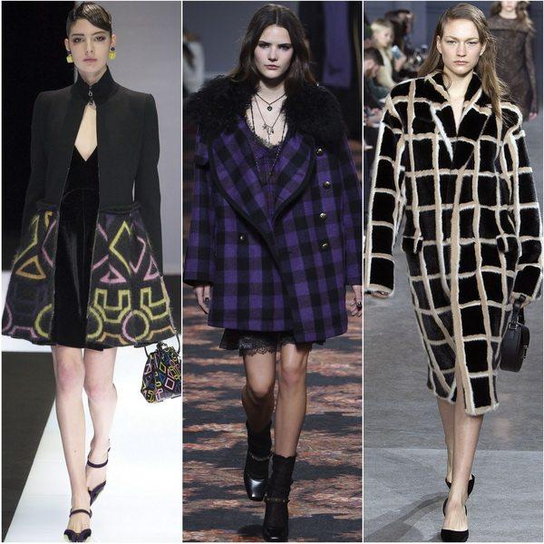 Геометрический принт в моде в сезоне осень-зима 2016: пальто и шубы Emporio Armani, Etro, Jason Wu