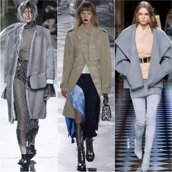 Пальто серого цвета в моде осенью-зимой 2016: Christopher Kane, Louis Vuitton, Balmain