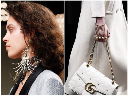 Необычная форма украшений и металлик - модные тренды осени-зимы 2016-2017: Lanvin, Gucci