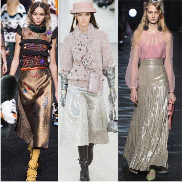 Блестящий тренд: модные юбки осень-зима 2016-2017 Fendi, Chanel, Blumarine