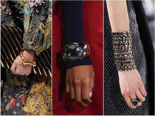 Модные браслеты металлик - осень-зима 2016: Balenciaga, Oscar de la Renta, Louis Vuitton