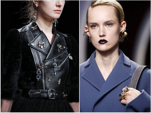 Осенью-зимой 2016-2017 в моде несколько брошей и кольцо на три и больше пальцев: Alexander McQueen, Christian Dior