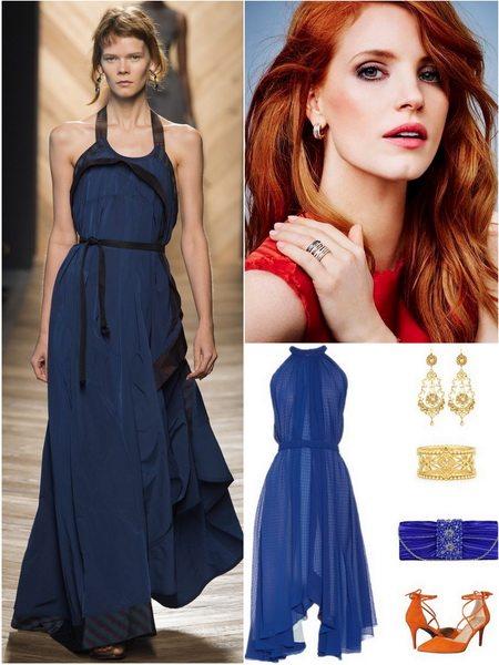 Глубокий синий - тренд весенне-летнего сезона 2016. Слева платье Bottega Veneta