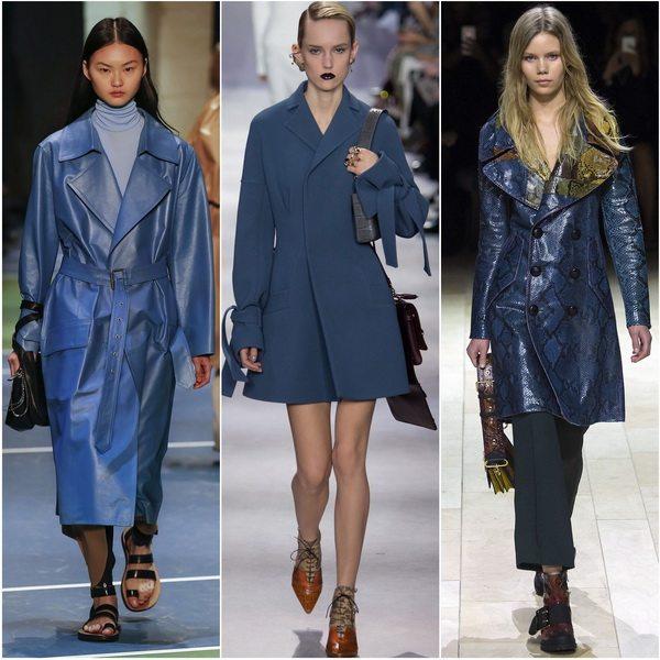 Пальто синего цвета будут актуальны в сезоне осень-зима 2016-17: Celine, Christian Dior, Burberry