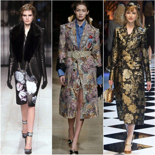 Цветочный принт на пальто осенью-зимой 2016-17: Alexander McQueen, Miu Miu, Dolce&Gabbana