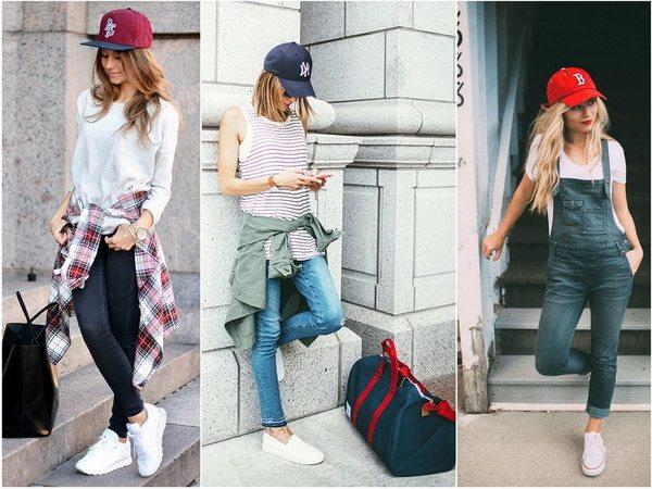 Бейсболку девушке можно носить со спортивной и одеждой в кэжуал стиле